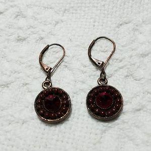 Antiqued Garnet Red Earrings